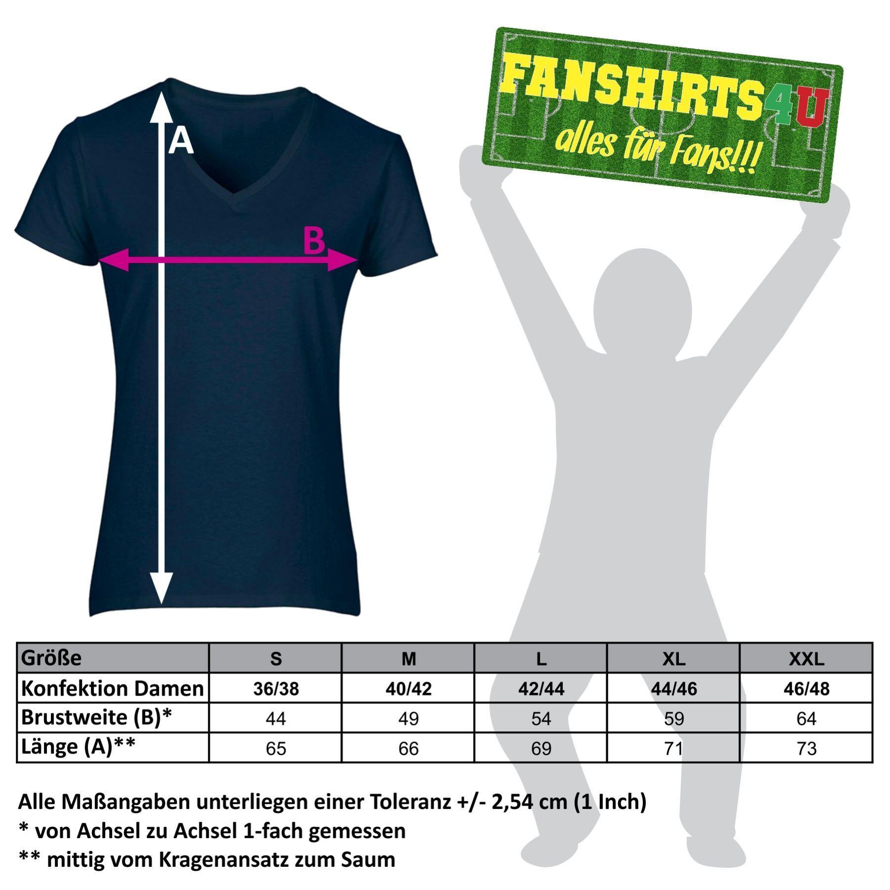 Maßtabelle unserer T-Shirts für Damen