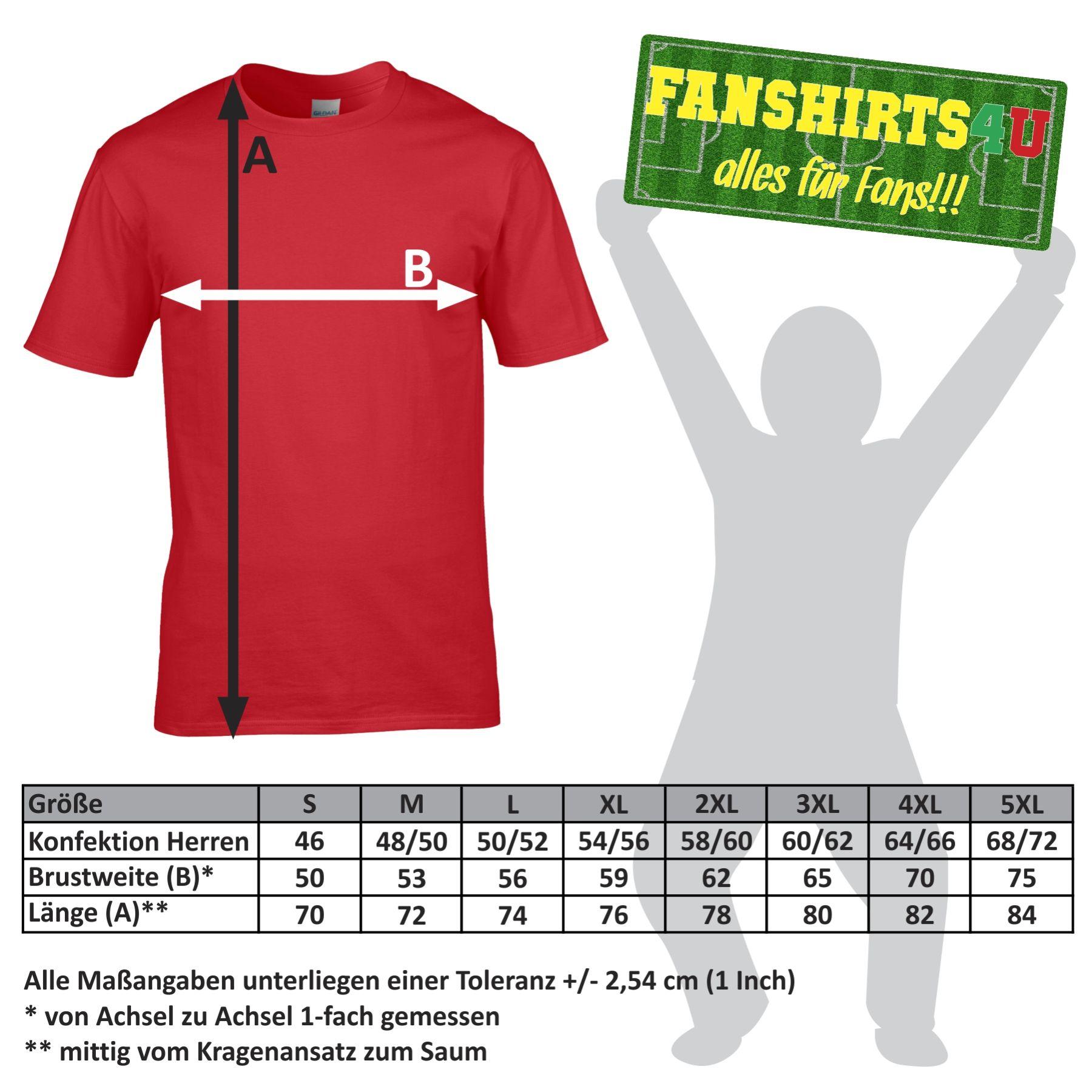 Größentabelle unserer T-Shirts für Herren